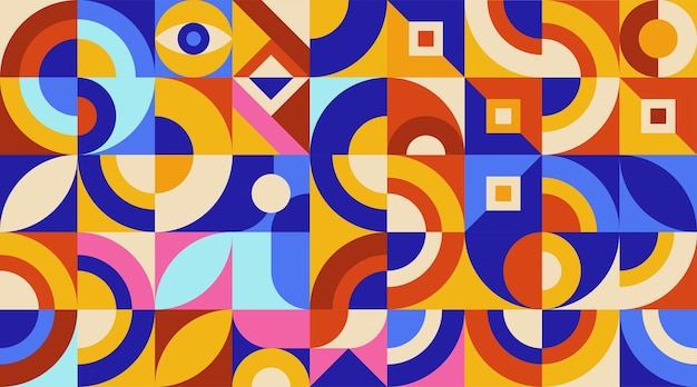Flat colorful abstract geometric shape background cover template