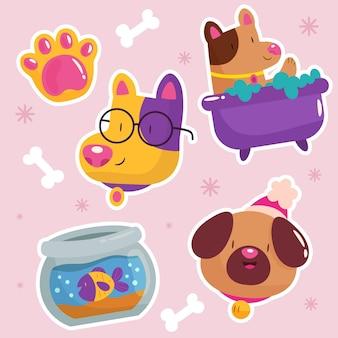 편평한 다채로운 동물 모음