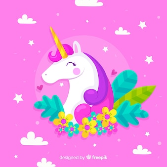 Flat colorful background with beautiful unicorn