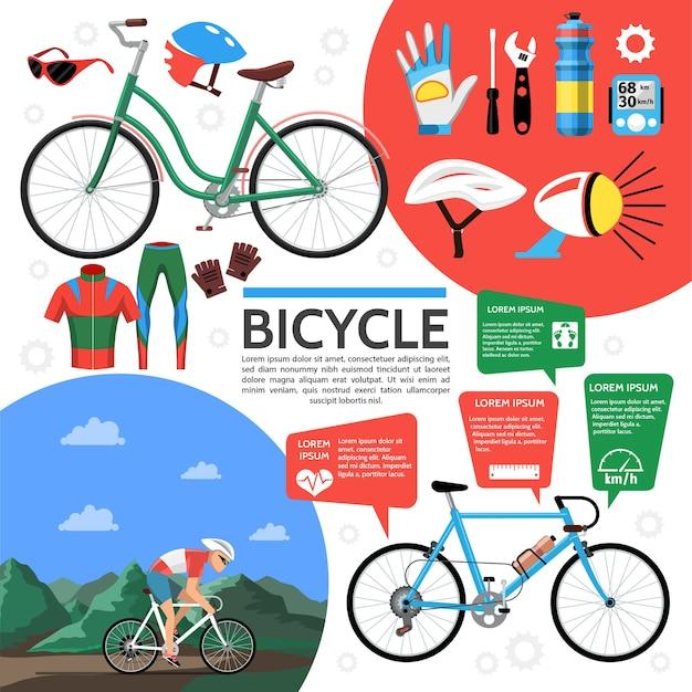 편평한 화려한 자전거 포스터