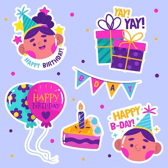Flat colorful birthday collection