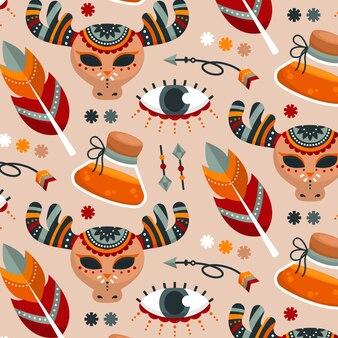 Flat colorful boho pattern