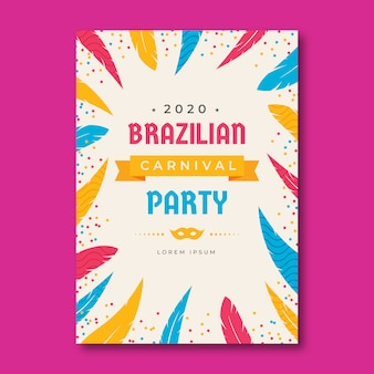 Flat colorful brazilian carnival flyer