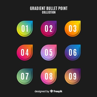 Flat colorful bullet point collection