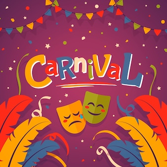 Flat colorful carnival masks