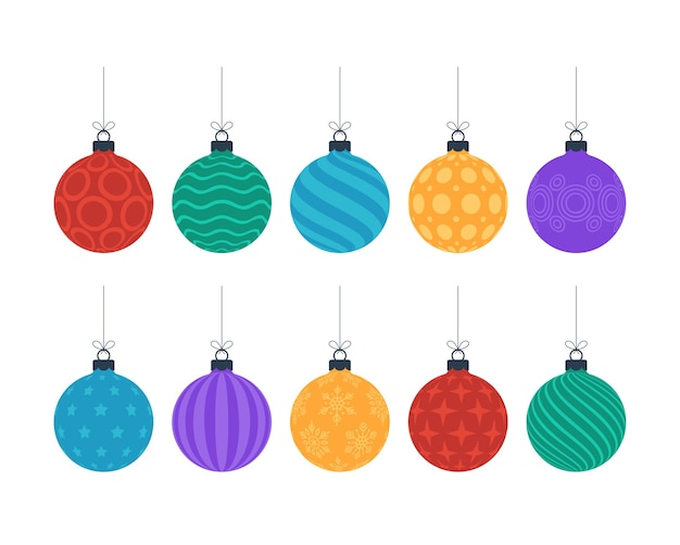 Flat colorful christmas ornate tree toys or balls hang on a thread isolated on white background