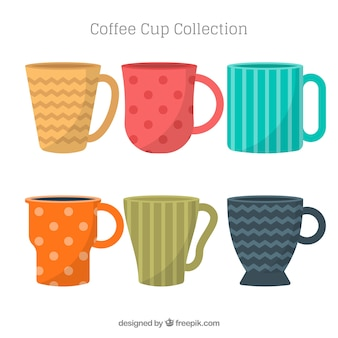 Плоская коллекция цветных кофейных чашек