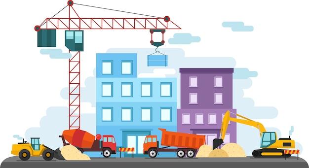 フラットカラフルな建設現場