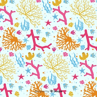 Flat colorful coral and fishes pattern pack