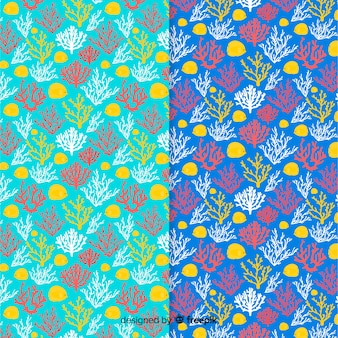 Flat colorful coral pattern pack