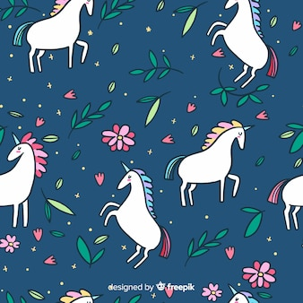 Flat colorful cute unicorn pattern