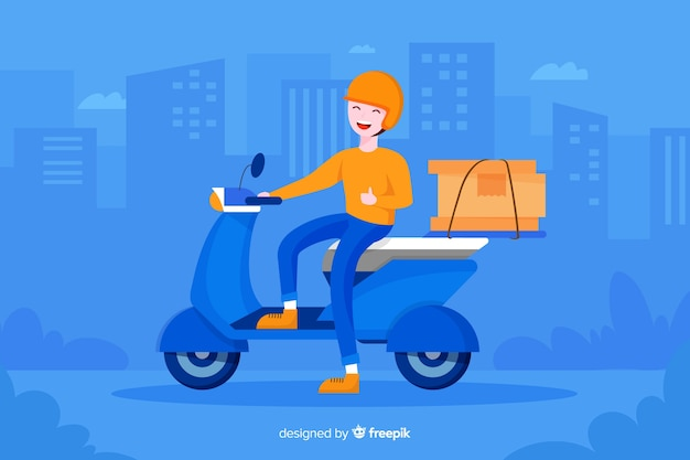 Flat colorful design delivery man for landing pages