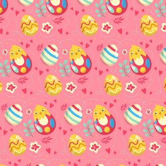 편평한 다채로운 부활절 패턴