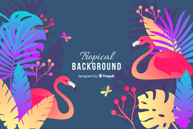 Flat colorful exotic leaves with flamingos background