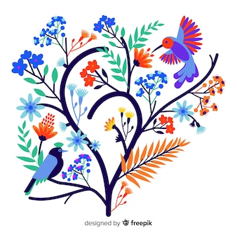 Flat colorful floral branch with bird