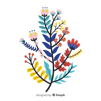 Flat colorful floral branch