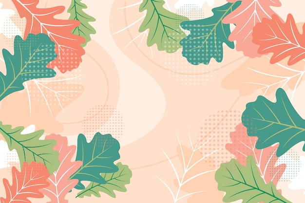 Flat colorful floral oak leaves background