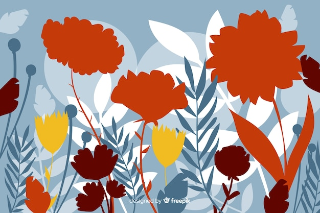 Flat colorful floral silhouette background