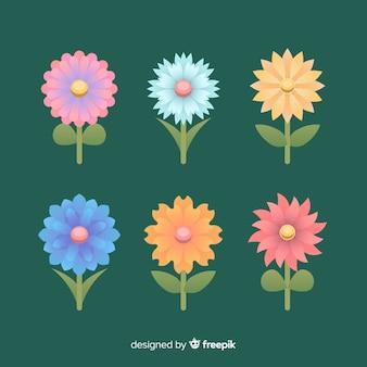 Flat colorful flower set