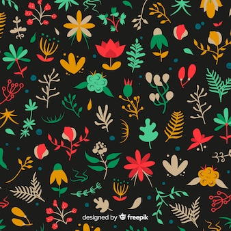 Flat colorful flowers and leaves background