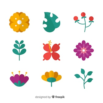 Flat colorful flowers and leaves collection