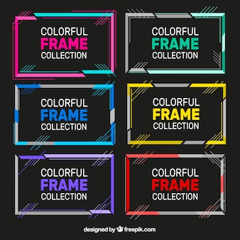 Flat colorful frame collection