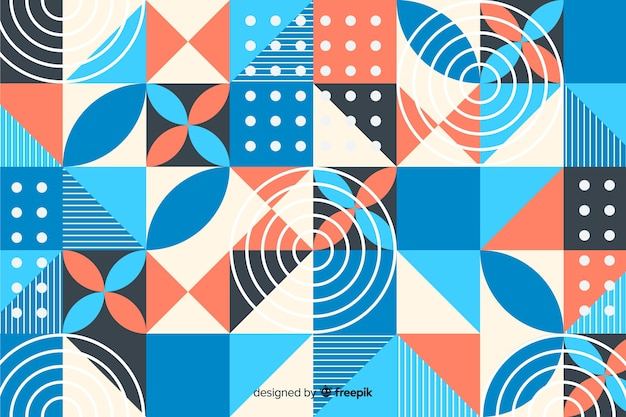 Flat colorful geometric shapes background