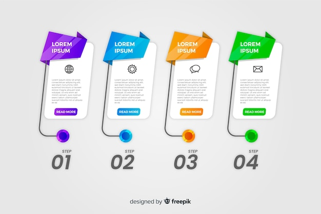 Flat colorful gradient timeline infographics
