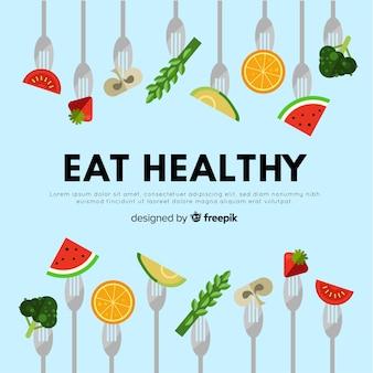 Плоский красочный фон здоровой пищи