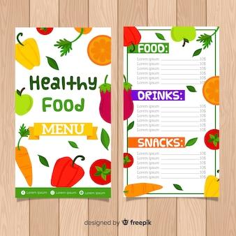 平らなカラフルな健康食品メニュー