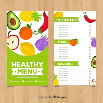 Flat colorful healthy food menu
