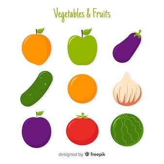 Flat colorful healthy food set