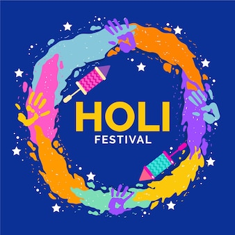 フラットカラフルなホーリー祭のお祝い