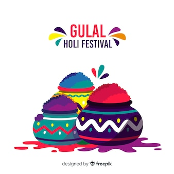 Flat colorful holi gulal background