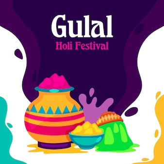 Flat colorful holi gulal illustration