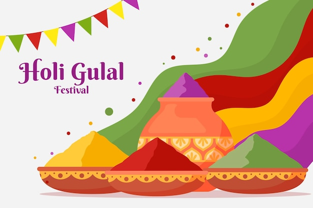 色の山とフラットカラフルなホーリー祭