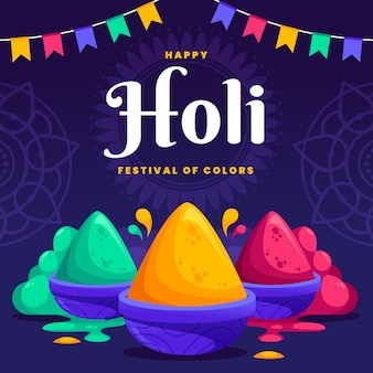 Flat colorful holi gulal