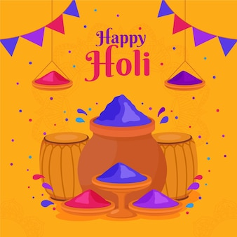 Flat colorful holi powder illustration