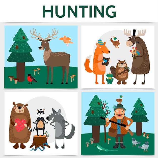 사냥꾼이 나무에 총 사슴 여우 비버 엘크 곰 너구리를 들고와 평면 다채로운 사냥 평방 개념