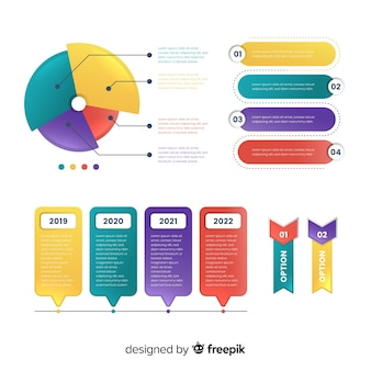 Flat colorful infographic steps collection