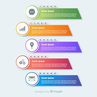 Плоские красочные инфографики шаги