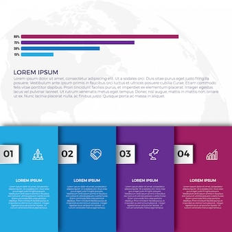 Flat colorful infographics step collection