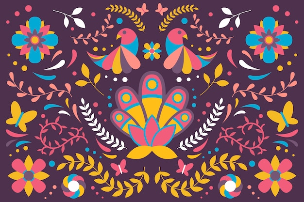 Flat colorful mexican background concept