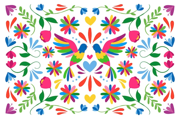 Flat colorful mexican wallpaper with birds