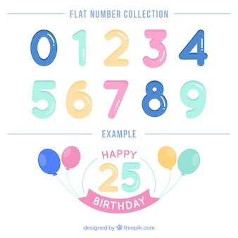 Raccolta di numeri colorati piatti