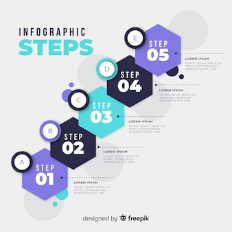 Flat colorful numbered step infographic