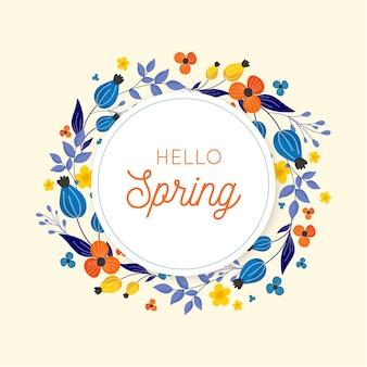 Flat colorful spring floral frame