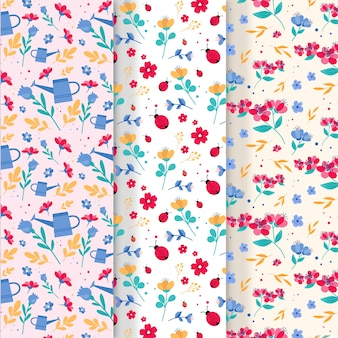 Flat colorful spring pattern collection