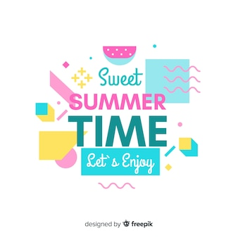 Flat colorful summer lettering background