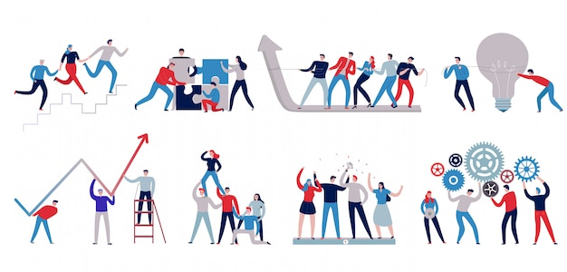 Flat colorful teamwork icons set with staff working together isolated